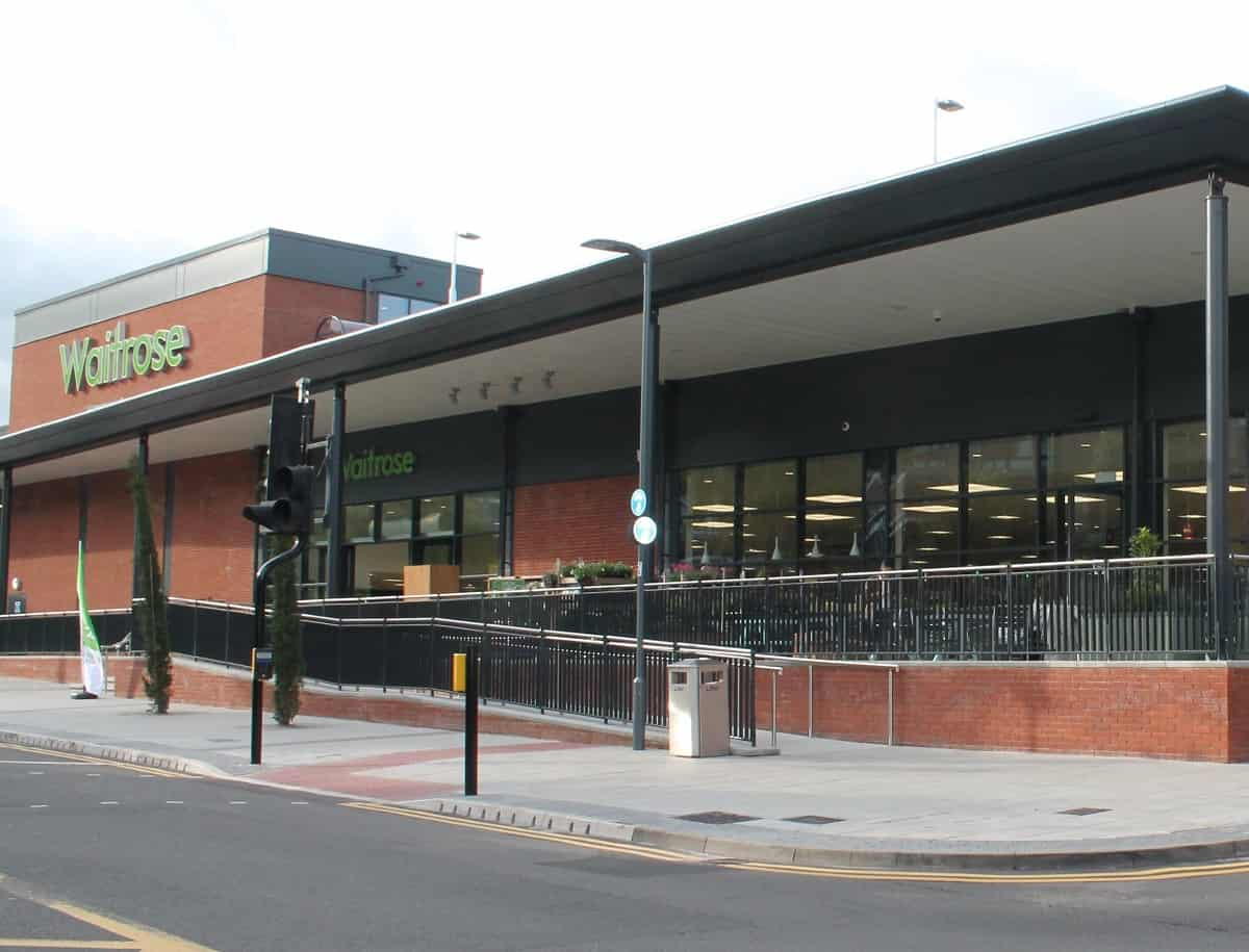 Stainless Steel Handrails for Walkways Around New Waitrose Store in Solihull