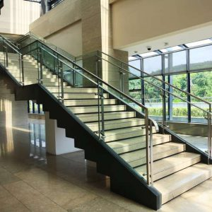 Glass staircases for hotels