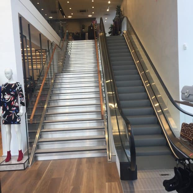 Glass riser staircases added to new Next store in Bolton