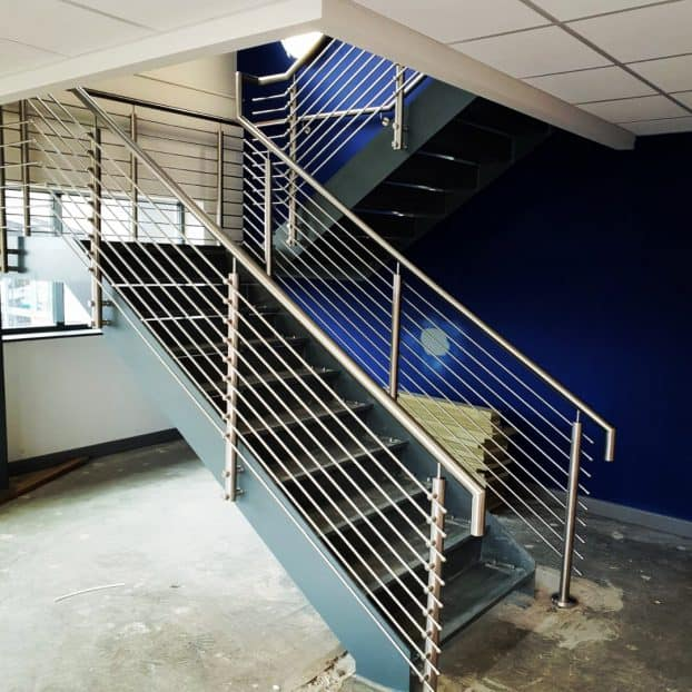 Steel Staircase manufactured for commercial offices in West Midlands