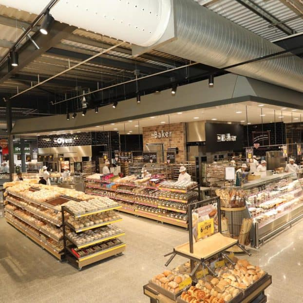 Bespoke steel cladding for bakery within new Morrisons store